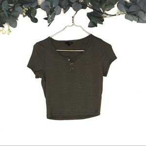 G by guess Crop Top Tee olive green